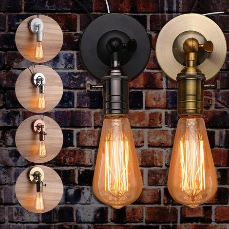 E27 Retro Edison Vintage Antique Edison Plafonnier Industriel Avec Interrupteur Applique Murale En Fer Support D'ampoule Socket Appliques AC110-240V (Lumières Non Incluses) Jin Gu Or antique