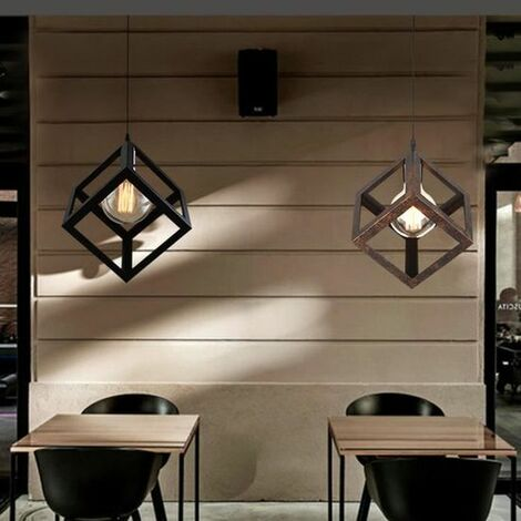 E27 Suspension Luminaire Design Cube M?tal R?tro Industriel Lustre Int?rieur