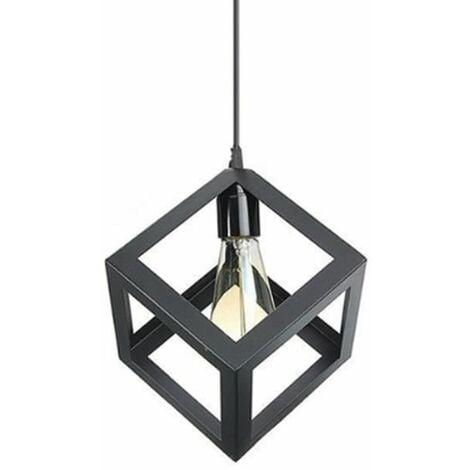 E27 Suspension Rétro Vintage Cube Carré Lustre abat-jour Luminaire Industriel Noir