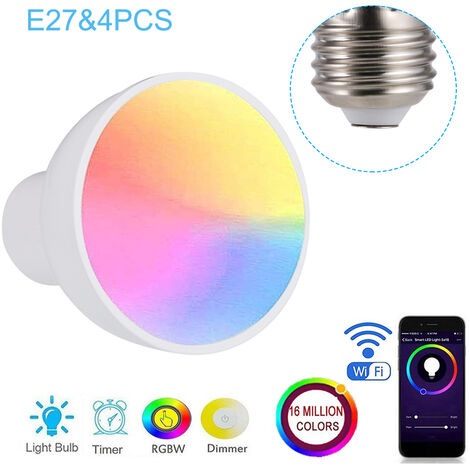 E27 WiFi inteligente Bombilla, RGBW 6W LED regulable