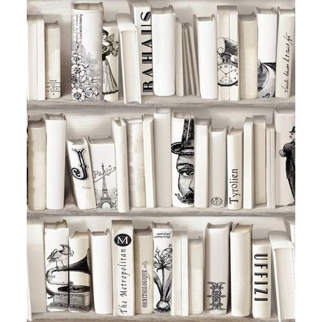 E82207 Bookcase Wallpaper Encyclopedia Books Library Vintage Retro Cream Black Muriva