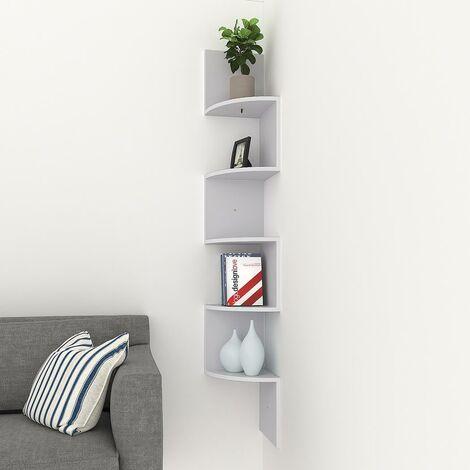 étagère d'angle Murale en Forme Zigzag Bibliothèque 5 Tier -Blanc - Blanc