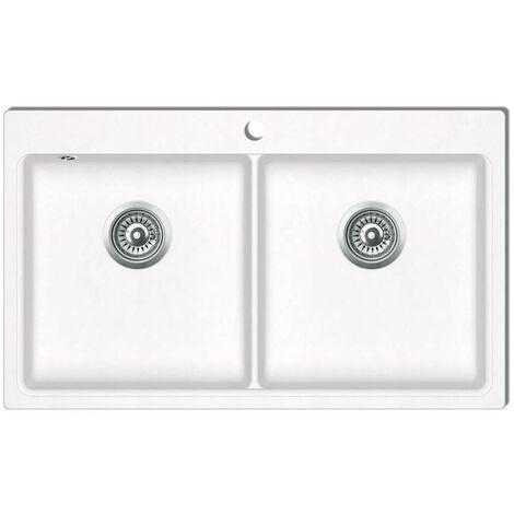 évier de cuisine encastrable à 2 bacs en granite blanc crème HDV04099