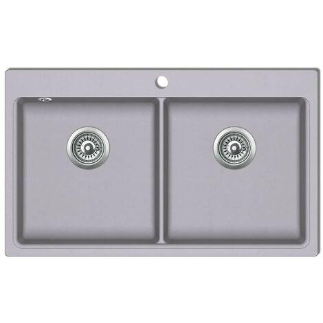 évier de cuisine encastrable à 2 bacs en granite blanc gris HDV04098