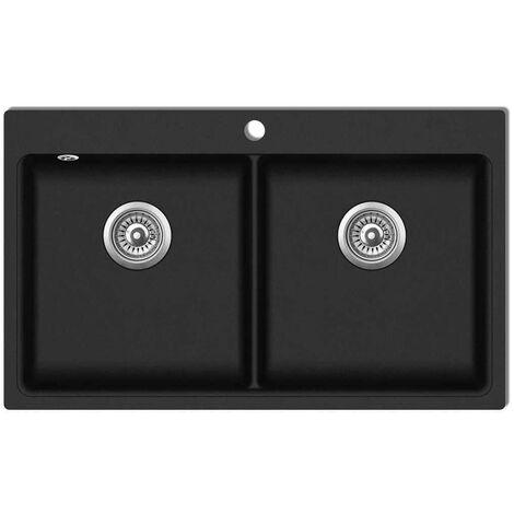 évier de cuisine encastrable à 2 bacs en granite noir HDV04097
