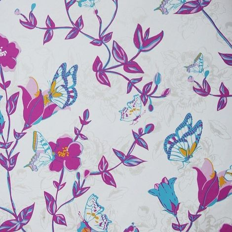 East West Papers Vintage Chic Butterfly Blue Wallpaper