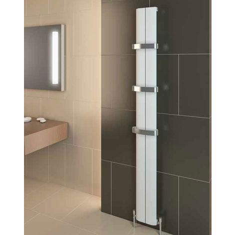 Eastbrook Berlini Aluminium Matt Black Vertical Designer Radiator 1200mm x 185mm Electric Only - Thermostatic