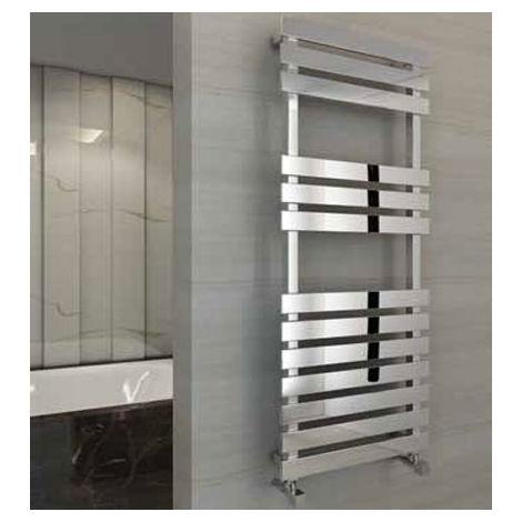 Eastbrook Biava Flat Steel Chrome Heated Towel Rail 1170mm x 600mm Dual fuel - Thermostatic
