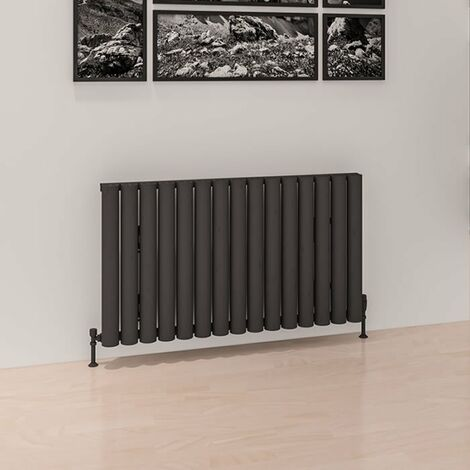 Eastbrook Burford Horizontal Aluminium Radiator 600mm x 1185mm Matt Anthracite - Electric Only Thermostatic