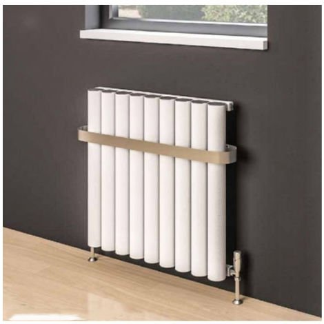 Eastbrook Burford Horizontal Aluminium Radiator 600mm x 1185mm Matt White - Electric Only Thermostatic