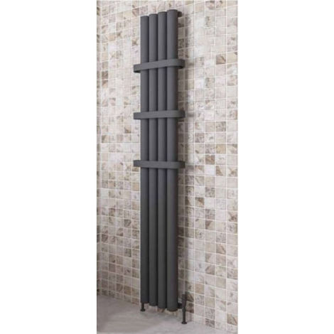 Eastbrook Burford Vertical Aluminium Radiator 1800mm x 375mm Matt Anthracite - Electric Only Thermostatic