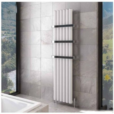 Eastbrook Burford Vertical Aluminium Radiator 1800mm x 415mm Matt White - Electric Only Thermostatic