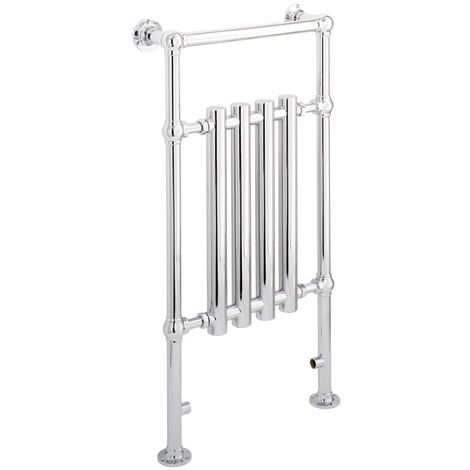 Eastbrook Frome Chrome Traditional Heated Towel Rail 952mm x 500mm Dual Fuel - Thermostatic