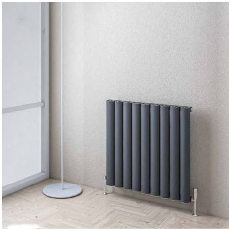 Eastbrook Kelmscott Horizontal Aluminium Radiator 600mm x 625mm - Matt Anthracite - Central Heating
