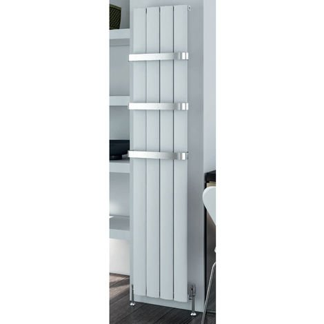 Eastbrook Malmesbury 1800mm x 185mm Vertical Aluminium Radiator Matt White - Electric Only Thermostatic