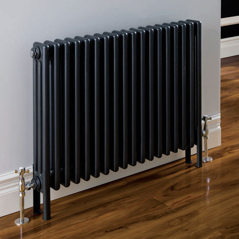Eastbrook Rivassa 2 column radiator 600mm x 428mm Matt Anthracite - Electric Only Thermostatic