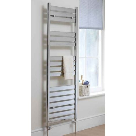 Eastbrook Staverton Steel White Heated Towel Rail 1200mm x 500mm Dual Fuel - Thermostatic
