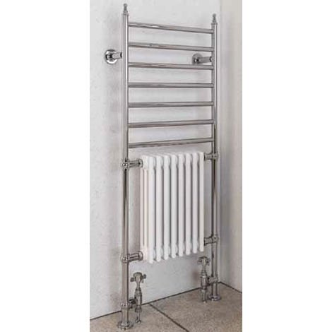 Eastbrook Thames Chrome Traditional Heated Towel Rail 1444mm x 630mm Dual Fuel - Thermostatic