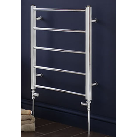 Eastbrook Tuscan Steel Straight Chrome Heated Towel Rail 650mm x 450mm Electric Only - Thermostatic