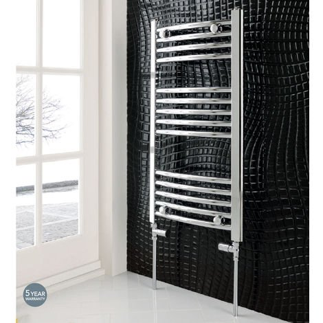 Eastbrook Wendover Curved Steel Chrome Heated Towel Rail 1600mm x 400mm Central Heating