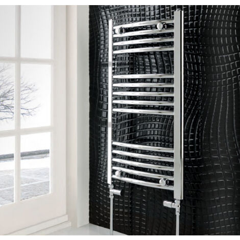 Eastbrook Wendover Straight Steel Chrome Heated Towel Rail 600mm x 300mm Central Heating