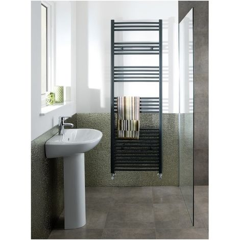 Eastbrook Wendover Straight Steel Matt Anthracite Heated Towel Rail 600mm x 500mm Central Heating