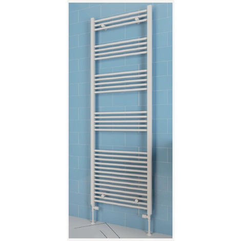 Eastbrook Wendover Straight Steel White Heated Towel Rail 1800mm x 300mm Electric Only - Thermostatic