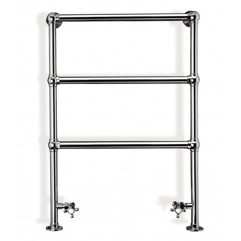 Eastbrook Windrush Chrome Traditional Heated Towel Rail 950mm x 500mm Dual Fuel - Thermostatic