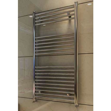 Eastbrook Wingrave Steel Chrome Straight Heated Towel Rail 1600mm x 600mm Central Heating