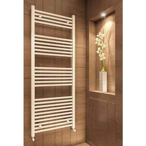 Eastbrook Wingrave Steel Matt White Straight Heated Towel Rail 1000mm x 400mm Electric Only - Standard
