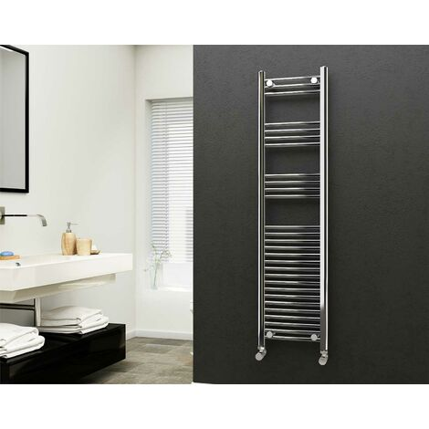Eastgate 22mm Steel Straight Chrome Heated Towel Rail 1600mm x 400mm - Central Heating, 2108 BTUs