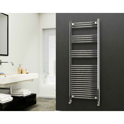 Eastgate 22mm Steel Straight Chrome Heated Towel Rail 1600mm x 600mm - Central Heating, 2881 BTUs