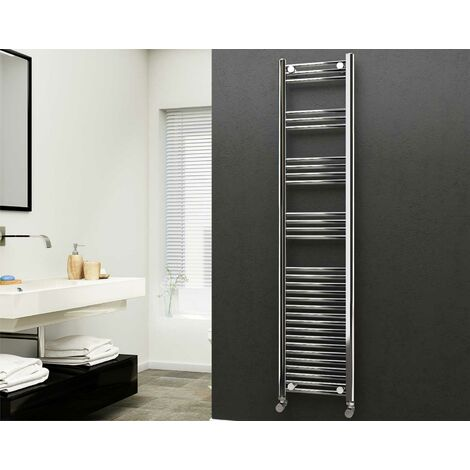 Eastgate 22mm Steel Straight Chrome Heated Towel Rail 1800mm x 400mm - Central Heating, 2716 BTUs