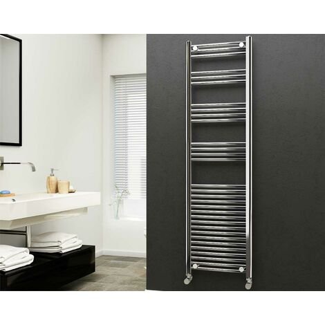 Eastgate 22mm Steel Straight Chrome Heated Towel Rail 1800mm x 500mm - Central Heating, 2854 BTUs
