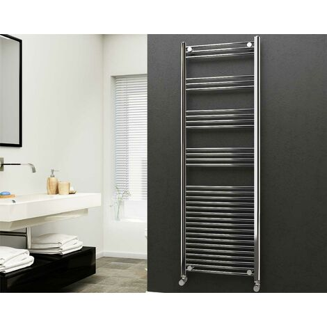 Eastgate 22mm Steel Straight Chrome Heated Towel Rail 1800mm x 600mm - Central Heating, 3313 BTUs