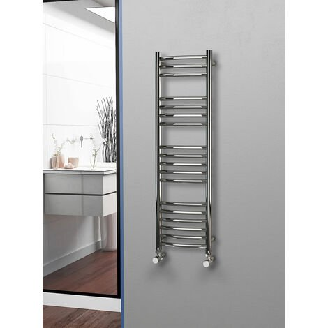 Eastgate 304 Curved Polished Stainless Steel Heated Towel Rail 1200mm x 350mm - Electric Only - Thermostatic - 1589BTU's