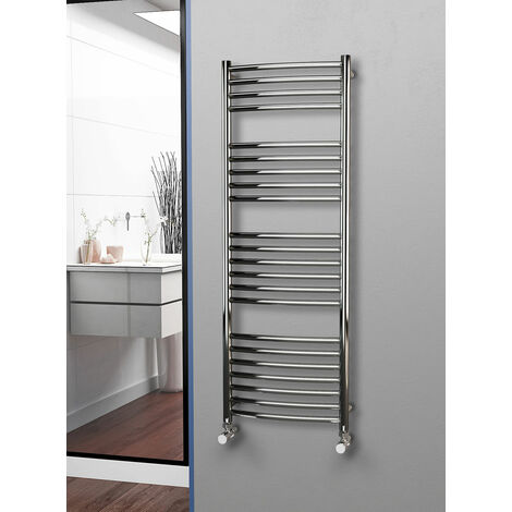 Eastgate 304 Curved Polished Stainless Steel Heated Towel Rail 1400mm x 500mm - Electric Only - Thermostatic - 2503BTU's