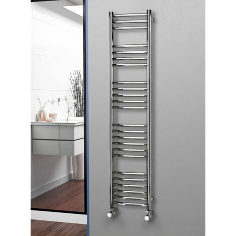 Eastgate 304 Curved Polished Stainless Steel Heated Towel Rail 1600mm x 350mm - Electric Only - Thermostatic - 2118BTU's