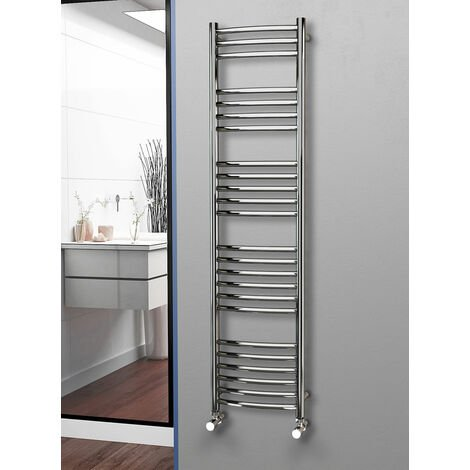 Eastgate 304 Curved Polished Stainless Steel Heated Towel Rail 1600mm x 400mm - Electric Only - Thermostatic - 2335BTU's