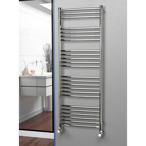 Eastgate 304 Curved Polished Stainless Steel Heated Towel Rail 1600mm x 600mm - Electric Only - Thermostatic - 3200BTU's