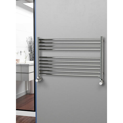 Eastgate 304 Curved Polished Stainless Steel Heated Towel Rail 600mm x 1000mm - Electric Only - Thermostatic - 2020BTU's