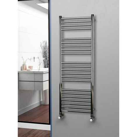 Eastgate 304 Straight Polished Stainless Steel Heated Towel Rail 1400mm x 500mm - Electric Only Thermostatic - 2482BTU's