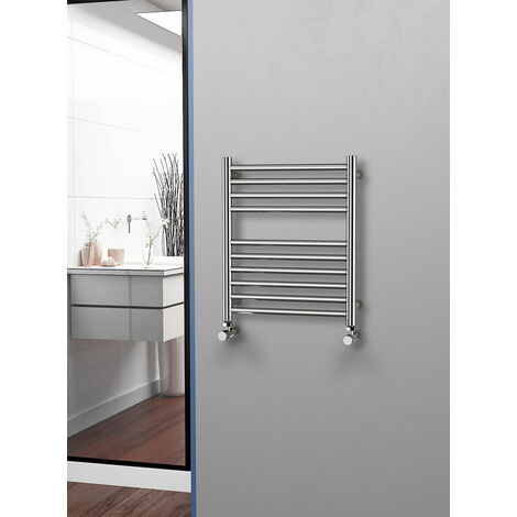 Eastgate 304 Straight Polished Stainless Steel Heated Towel Rail 600mm x 500mm - Electric Only Thermostatic - 1110BTU's
