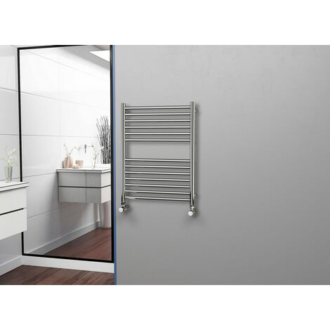 Eastgate 304 Straight Polished Stainless Steel Heated Towel Rail 800mm x 600mm - Electric Only Thermostatic - 1687BTU's