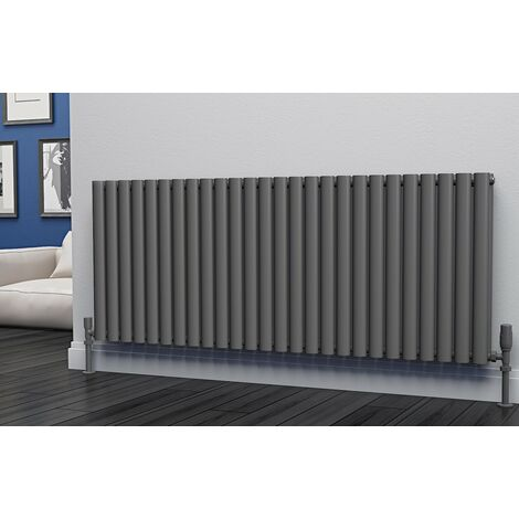 Eastgate Eclipse Steel Anthracite Horizontal Designer Radiator 600mm x 1508mm Double Panel - Dual Fuel - Thermostatic