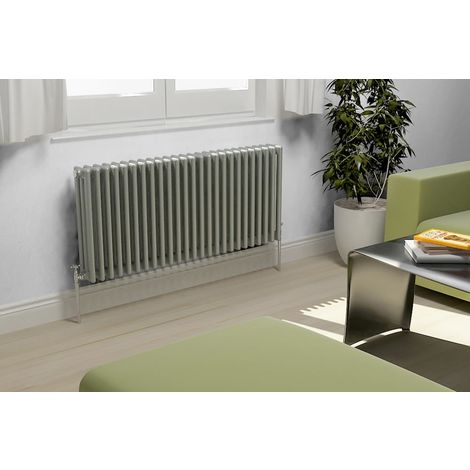 Eastgate Lazarus Steel Grey Aluminium Horizontal 3 Column Radiator 600mm x 628mm Central Heating