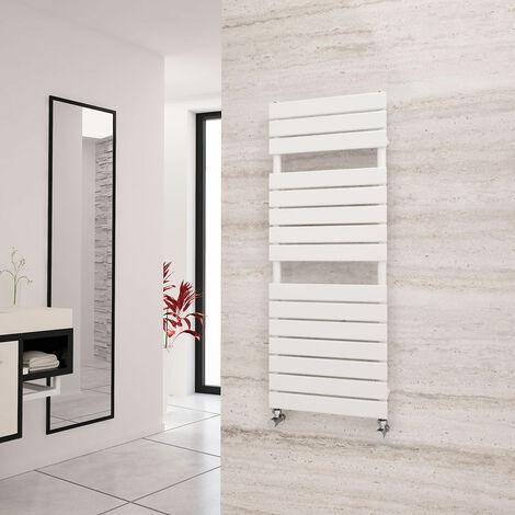 Eastgate Liso White Flat Tube Designer Towel Rail 1292mm x 500mm - Dual Fuel - Standard