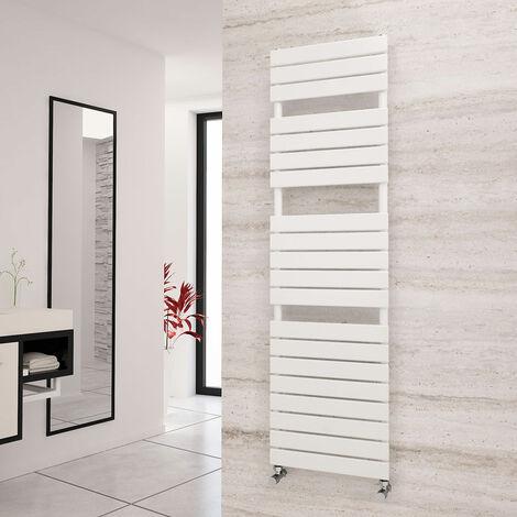 Eastgate Liso White Flat Tube Designer Towel Rail 1748mm x 500mm - Dual Fuel - Thermostatic