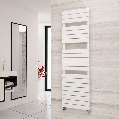Eastgate Liso White Flat Tube Designer Towel Rail 1748mm x 500mm - Electric Only - Thermostatic