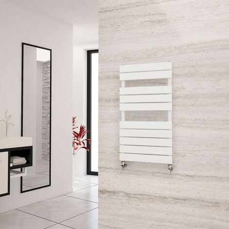 Eastgate Liso White Flat Tube Designer Towel Rail 912mm x 500mm - Electric Only - Thermostatic